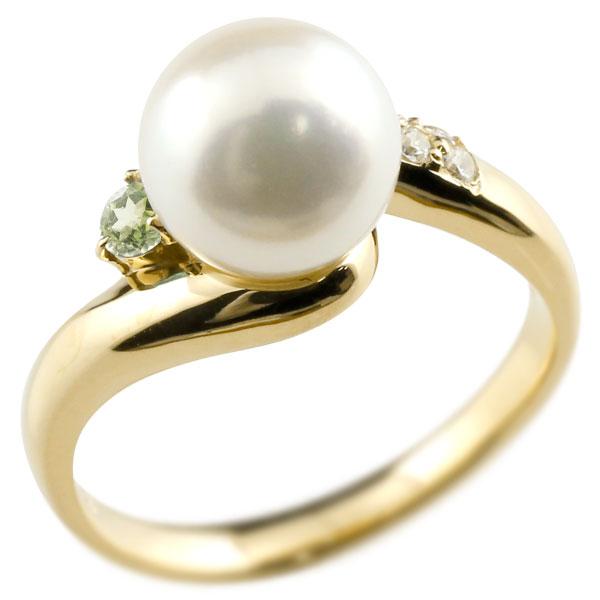 ピンキーリング 真珠 パール ペリドット イエローゴールドk18 リング キュービックジルコニア キュービック 指輪