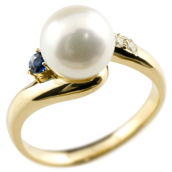 ピンキーリング 真珠 パール サファイア イエローゴールドk18 リング ダイヤモンド ダイヤ 指輪
