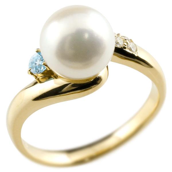 ピンキーリング 真珠 パール ブルートパーズ イエローゴールドk10 リング キュービックジルコニア キュービック 指輪