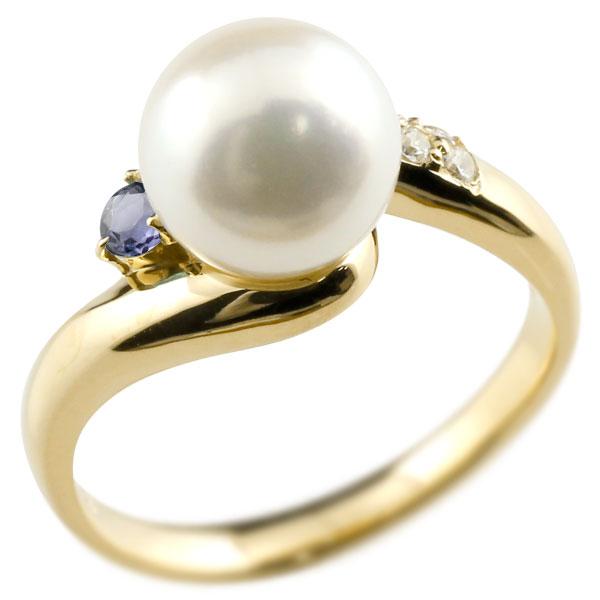 ピンキーリング 真珠 パール アイオライト イエローゴールドk10 リング キュービックジルコニア キュービック 指輪