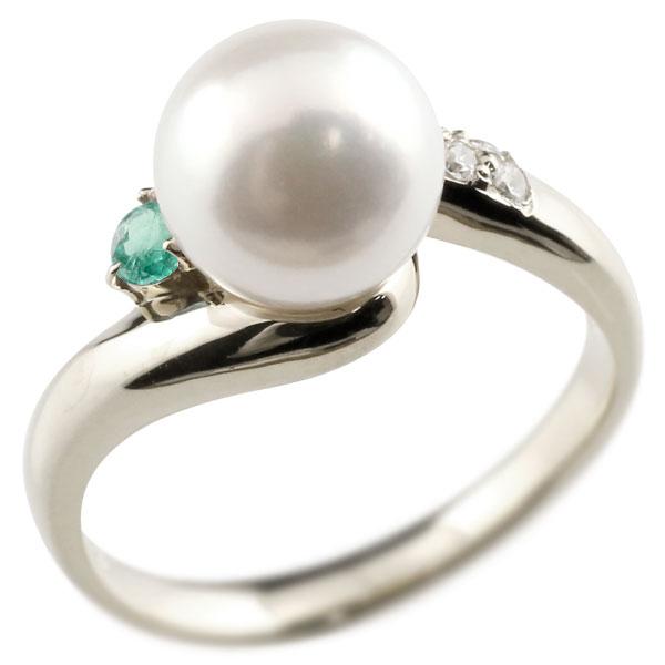 ピンキーリング 真珠 パール エメラルド ホワイトゴールドk18 リング ダイヤモンド ダイヤ 指輪