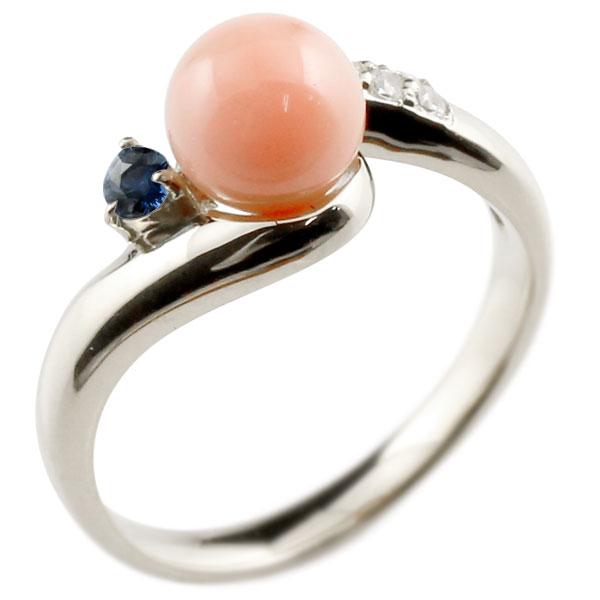 ピンキーリング 珊瑚 コーラル サンゴ サファイア ホワイトゴールドk10 リング ダイヤモンド ダイヤ 指輪