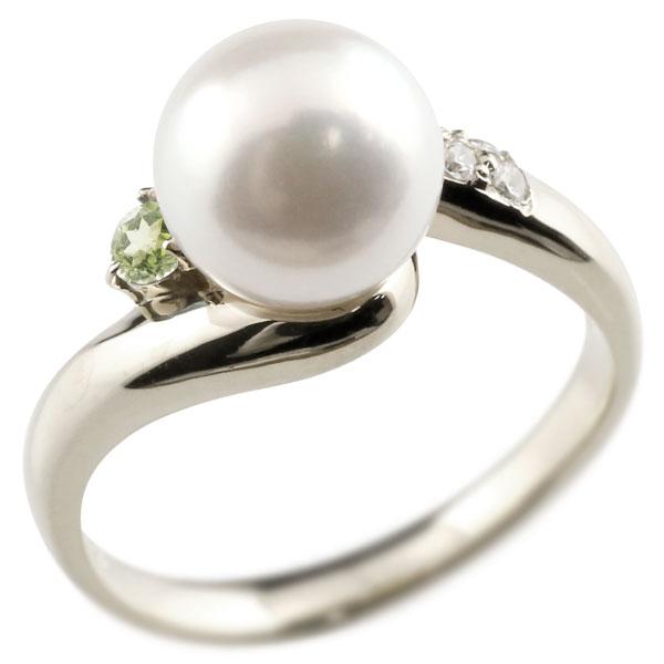 ピンキーリング 真珠 パール ペリドット シルバー925 リング キュービックジルコニア キュービック 指輪