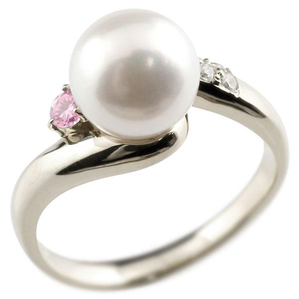 ピンキーリング 真珠 パール ピンクサファイア ホワイトゴールドk10 リング キュービックジルコニア キュービック 指輪