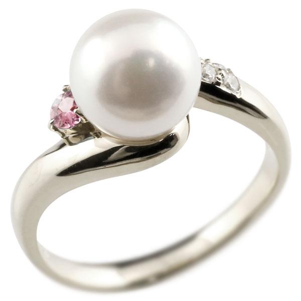 ピンキーリング 真珠 パール ピンクトルマリン ホワイトゴールドk18 リング ダイヤモンド ダイヤ 指輪