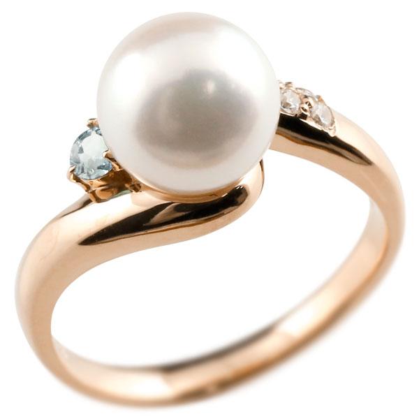 ピンキーリング 真珠 パール アクアマリン ピンクゴールドk18 リング キュービックジルコニア キュービック 指輪