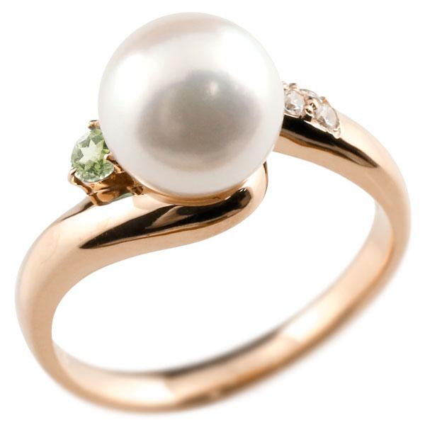 ピンキーリング 真珠 パール ペリドット ピンクゴールドk10 リング キュービックジルコニア キュービック 指輪