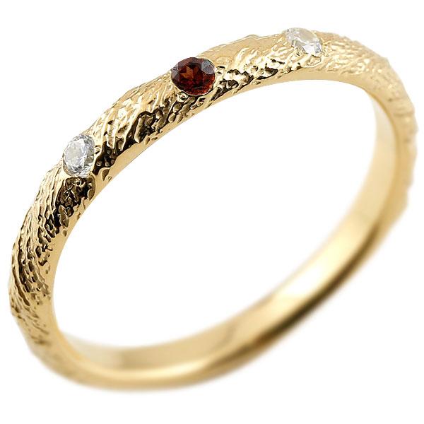 ゴールドリング ピンキーリング k10 ダイヤモンド ガーネット アンティーク ストレート 1月誕生石 指輪 ダイヤモンドリング