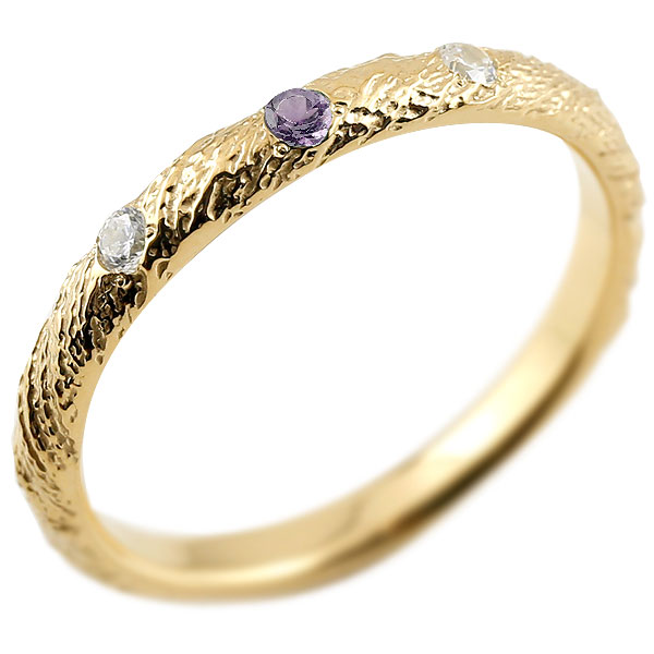 ゴールドリング ピンキーリング k10 ダイヤモンド アメジスト アンティーク ストレート 2月誕生石 指輪 ダイヤモンドリング