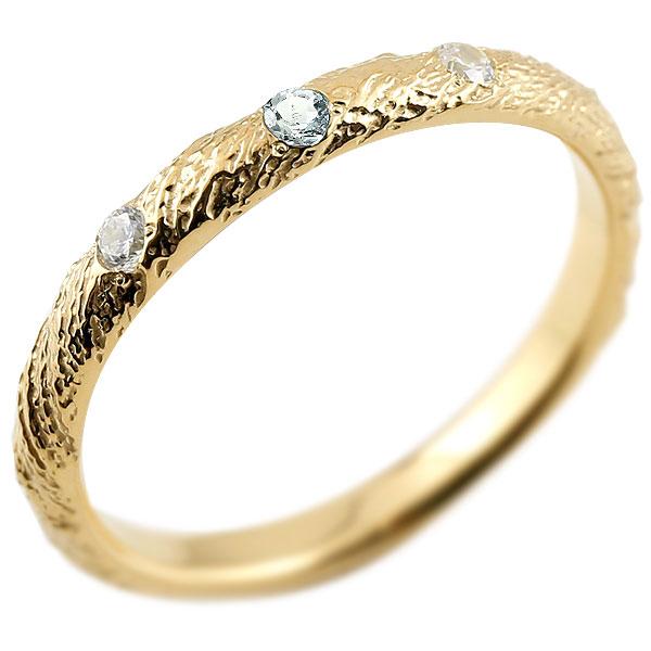 ゴールドリング ピンキーリング k10 ダイヤモンド アクアマリン アンティーク ストレート 3月誕生石 指輪 ダイヤモンドリング