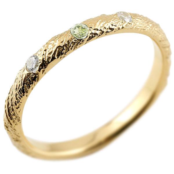 ゴールドリング ピンキーリング k10 ダイヤモンド ペリドット アンティーク ストレート 8月誕生石 指輪 ダイヤモンドリング