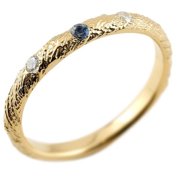 ゴールドリング ピンキーリング k10 ダイヤモンド サファイア アンティーク ストレート 9月誕生石 指輪 ダイヤモンドリング