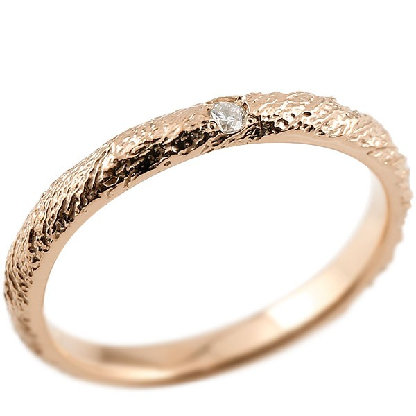 ゴールドリング ピンキーリング k18 アンティーク ストレート 指輪 ダイヤモンドリング