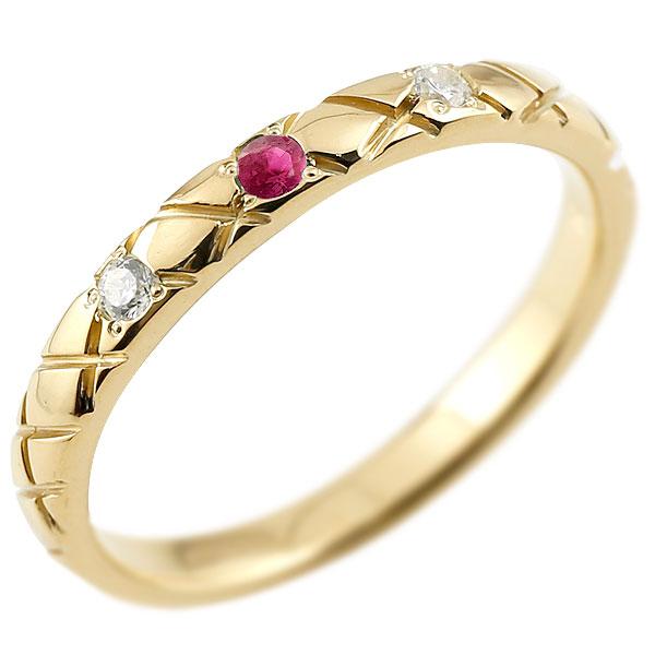ゴールドリング ピンキーリング k10 ダイヤモンド ルビー アンティーク ストレート チェック柄 7月誕生石 指輪 ダイヤモンドリング