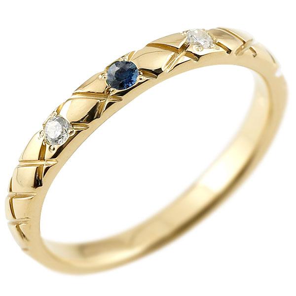 ゴールドリング ピンキーリング k10 ダイヤモンド サファイア アンティーク ストレート チェック柄 9月誕生石 指輪 ダイヤモンドリング