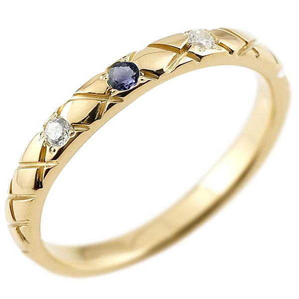 ゴールドリング ピンキーリング k18 ダイヤモンド アイオライト アンティーク ストレート チェック柄 指輪 ダイヤモンドリング