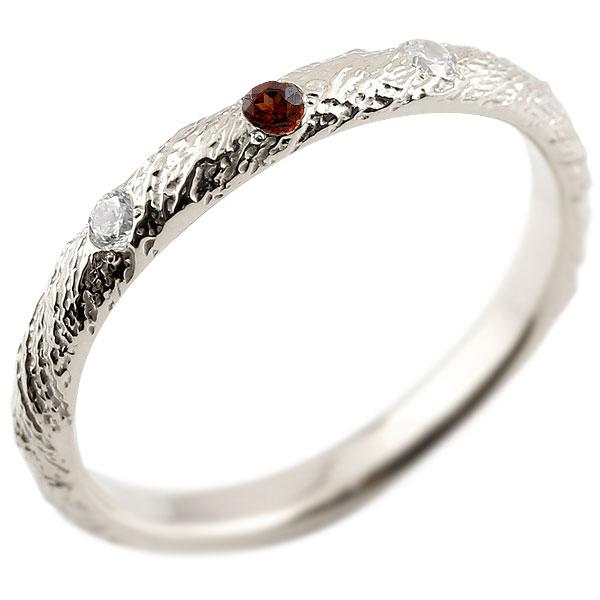 シルバーリング ピンキーリング sv925 ダイヤモンド ガーネット アンティーク ストレート 1月誕生石 指輪 ダイヤモンドリング