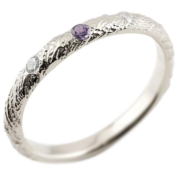 ゴールドリング ピンキーリング k18 ダイヤモンド アメジスト アンティーク ストレート 2月誕生石 指輪 ダイヤモンドリング