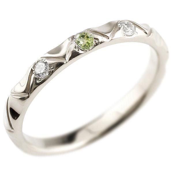 シルバーリング ピンキーリング sv925 ダイヤモンド ペリドット アンティーク ストレート 8月誕生石 指輪 ダイヤモンドリング