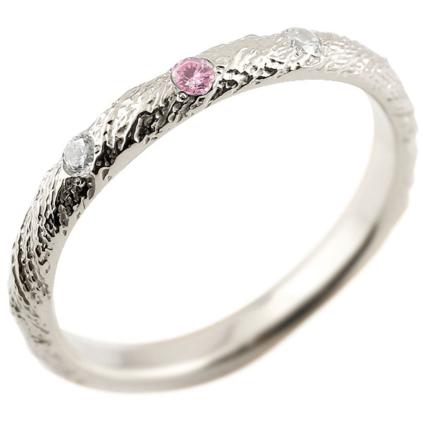 ゴールドリング ピンキーリング k18 ダイヤモンド ピンクサファイア アンティーク ストレート 9月誕生石 指輪 ダイヤモンドリング