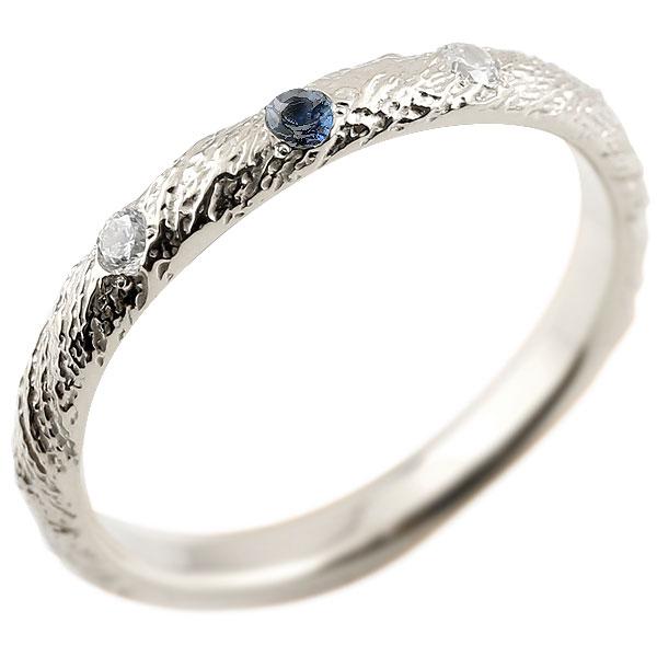 プラチナリング ピンキーリング pt900 ダイヤモンド サファイア アンティーク ストレート 9月誕生石 指輪 ダイヤモンドリング