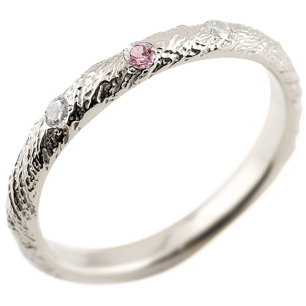ゴールドリング ピンキーリング k18 ダイヤモンド ピンクトルマリン アンティーク ストレート 10月誕生石 指輪 ダイヤモンドリング
