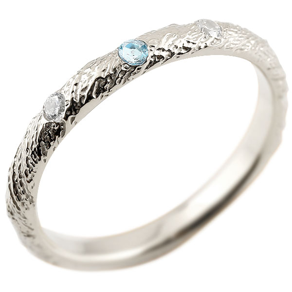 プラチナリング ピンキーリング pt900 ダイヤモンド ブルートパーズ アンティーク ストレート 11月誕生石 指輪 ダイヤモンドリング