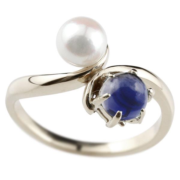 ピンキーリング 真珠 パール アイオライト プラチナ900 リング 指輪