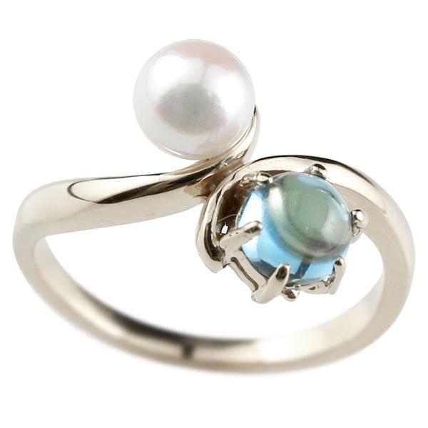 ピンキーリング 真珠 パール ブルートパーズ 11月誕生石 ホワイトゴールドk18 リング 指輪