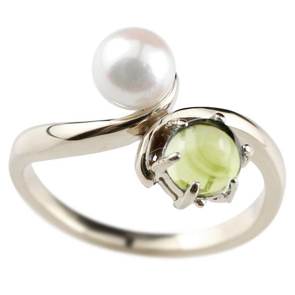 ピンキーリング 真珠 パール ペリドット 8月誕生石 ホワイトゴールドk18 リング 指輪
