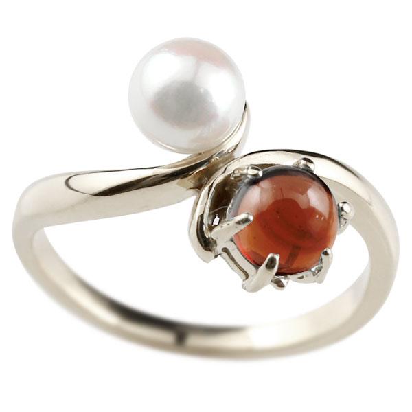 ピンキーリング 真珠 パール ガーネット 1月誕生石 ホワイトゴールドk18 リング 指輪