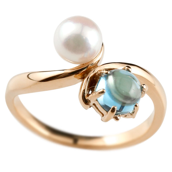 ピンキーリング 真珠 パール ブルートパーズ 11月誕生石 ピンクゴールドk18 リング 指輪