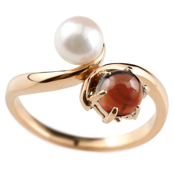 ピンキーリング 真珠 パール ガーネット 1月誕生石 ピンクゴールドk18 リング 指輪