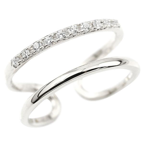 指輪 ダイヤモンド 婚約指輪 ピンキーリング ホワイトゴールドk18 エンゲージリング 2連リング フリーサイズリング フリスタ 18金