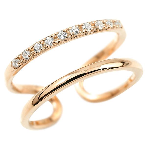 指輪 ダイヤモンド 婚約指輪 ピンキーリング ピンクゴールドk10 エンゲージリング 2連リング フリーサイズリング フリスタ 10金