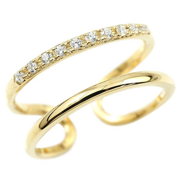 指輪 ダイヤモンド 婚約指輪 ピンキーリング イエローゴールドk18 エンゲージリング 2連リング フリーサイズリング フリスタ 18金