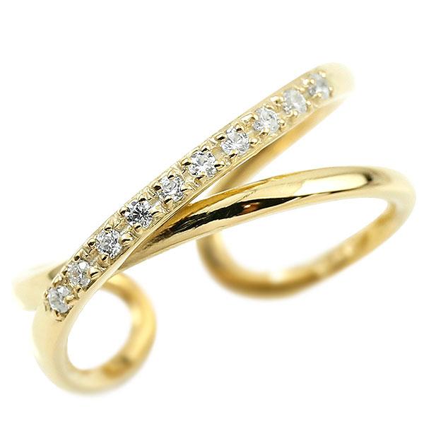 指輪 ダイヤモンド 婚約指輪 ピンキーリング イエローゴールドk10 エンゲージリング 2連リング フリーサイズリング フリスタ 10金