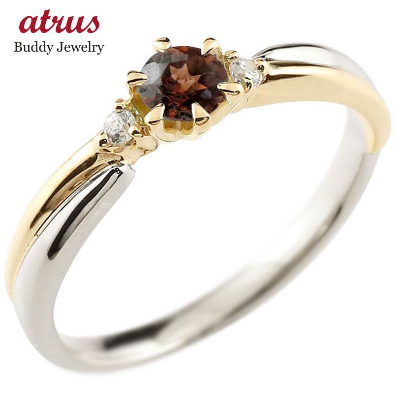 ガーネット リング プラチナ リング 指輪 イエローゴールドk18 コンビリング 一粒 大粒 18金 ダイヤモンドリング ダイヤ  ストレート