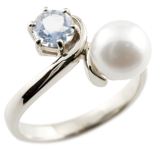 ピンキーリング 真珠 パール ブルームーンストーン ホワイトゴールドk10 リング 指輪