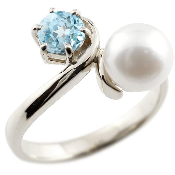 ピンキーリング 真珠 パール ブルートパーズ プラチナ900 リング 指輪