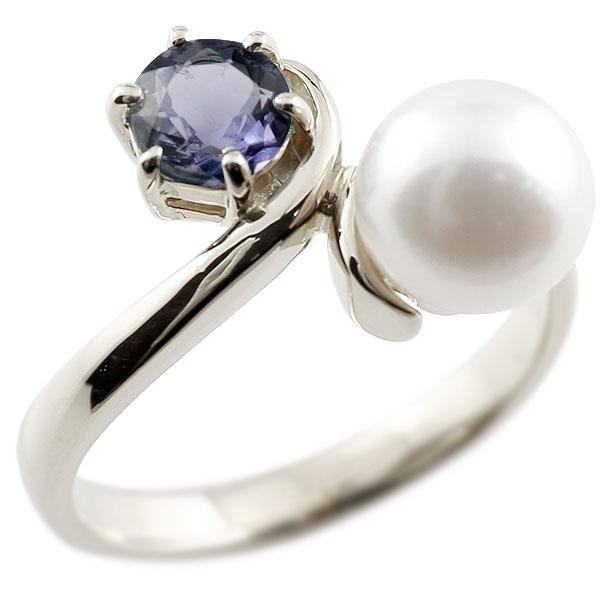 ピンキーリング 真珠 パール アイオライト ホワイトゴールドk18 リング 指輪