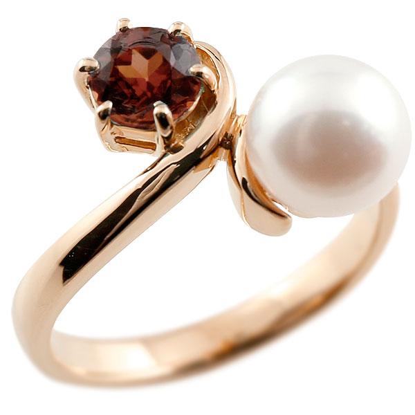 ピンキーリング 真珠 パール ガーネット ピンクゴールドk18 リング 指輪