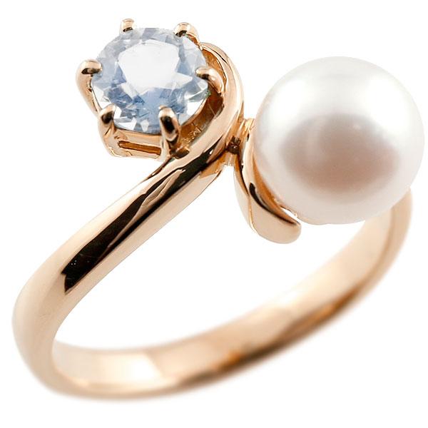 ピンキーリング 真珠 パール ブルームーンストーン ピンクゴールドk18 リング 指輪