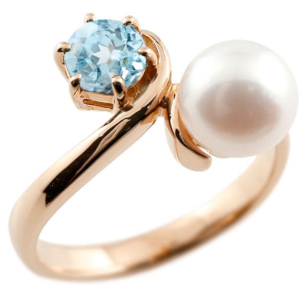 ピンキーリング 真珠 パール ブルートパーズ ピンクゴールドk10 リング 指輪