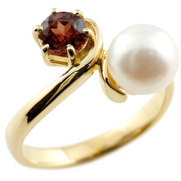 ピンキーリング 真珠 パール ガーネット イエローゴールドk10 リング 指輪