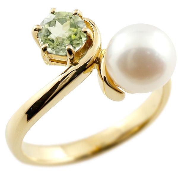 ピンキーリング 真珠 パール ペリドット イエローゴールドk18 リング 指輪