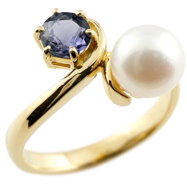 ピンキーリング 真珠 パール アイオライト イエローゴールドk18 リング 指輪