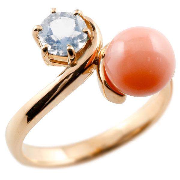 ピンキーリング 珊瑚 コーラル サンゴ ブルームーンストーン ピンクゴールドk10 リング 指輪