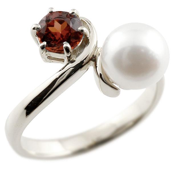 ピンキーリング 真珠 パール ガーネット ホワイトゴールドk18 リング 指輪