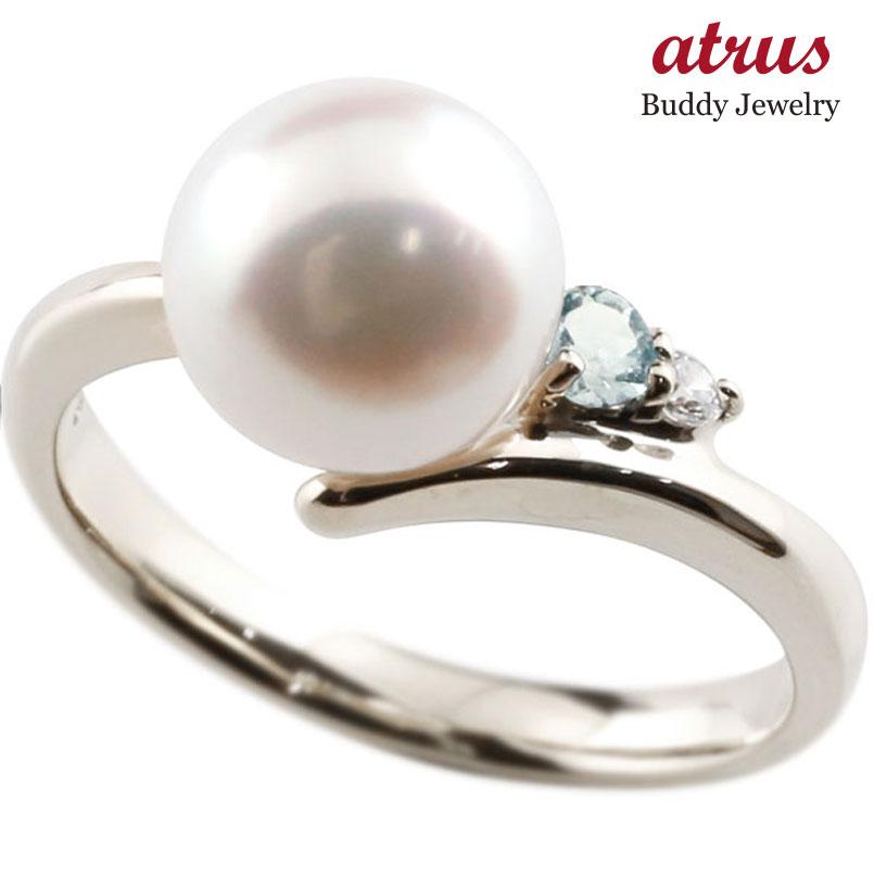 ピンキーリング 真珠 パール アクアマリン シルバー925 リング ダイヤモンド ダイヤ 指輪